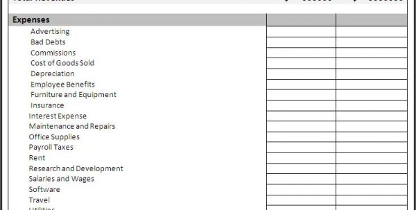 Free Income And Expense Forms Income And Expense Statement Template
