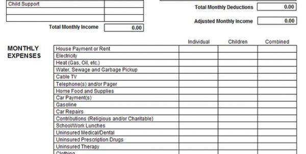 Printable Income And Expense Form Income And Expense Statement