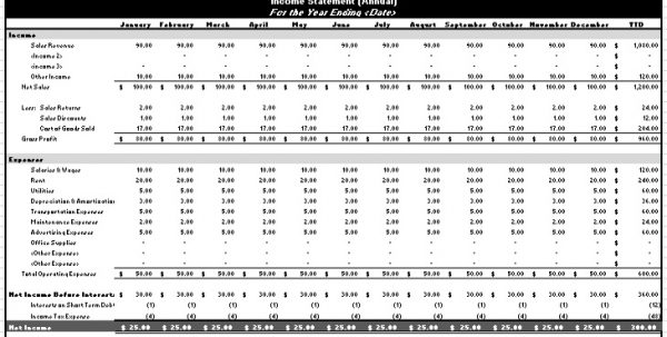Income Statement Template Excel Excel Spreadsheet Templates - income statement template