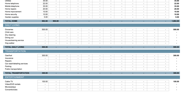 monthly expenses excel sheet format