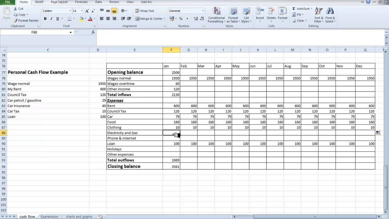 excel cash flow spreadsheet
