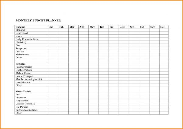 Create A Monthly Budget Worksheet Monthly Budget Spreadsheet Wedding