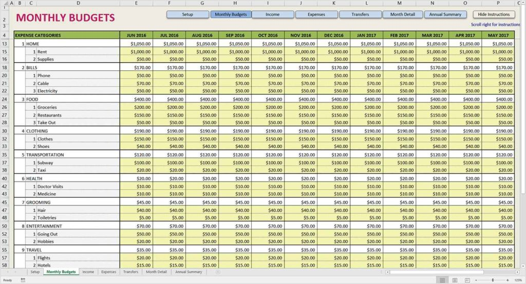 Monthly Expense Report Spreadsheet Monthly Expenses Spreadsheet