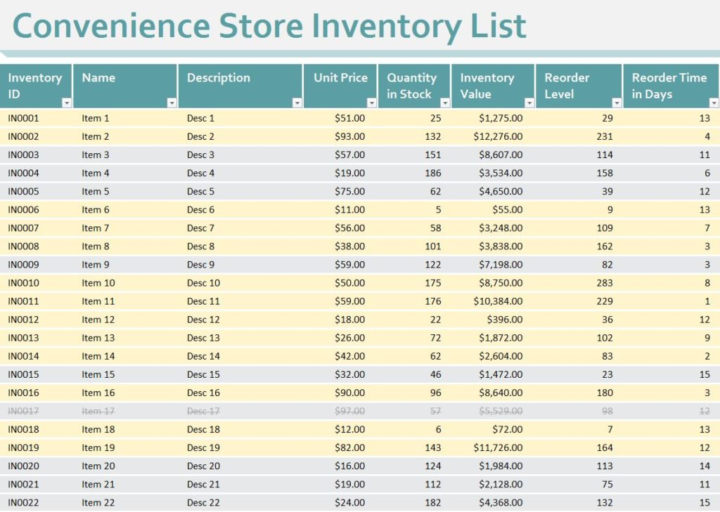 inventory spreadsheet for small business