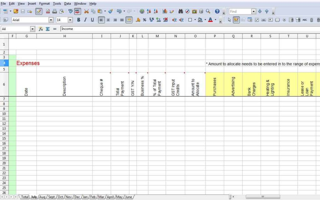 sample excel expense spreadsheet