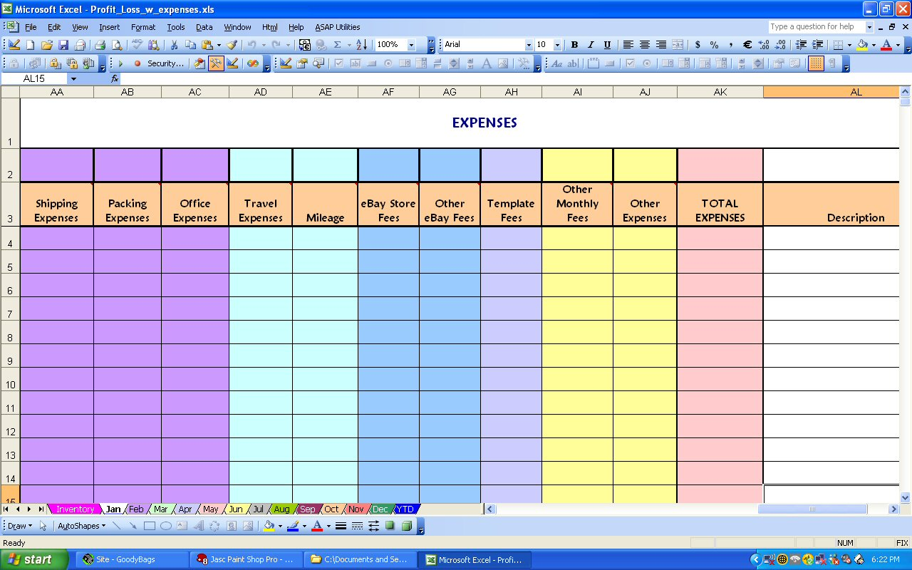 expense report in excel