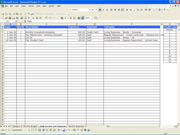 income and expense template excel