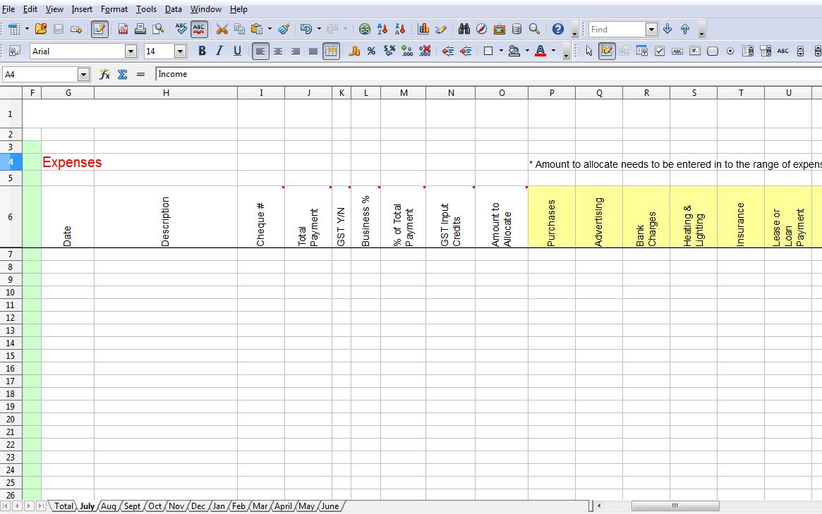 business spreadsheet template excel