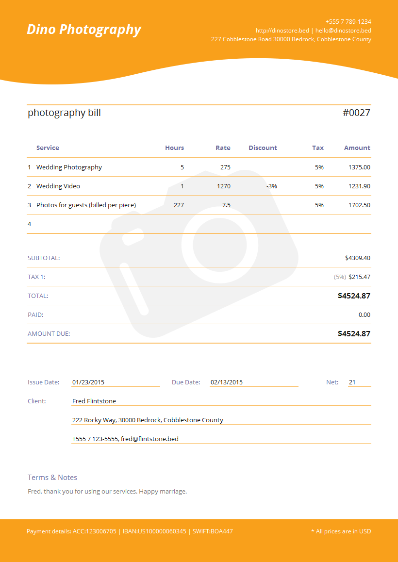 Photography Invoice Template Spreadsheet Templates For