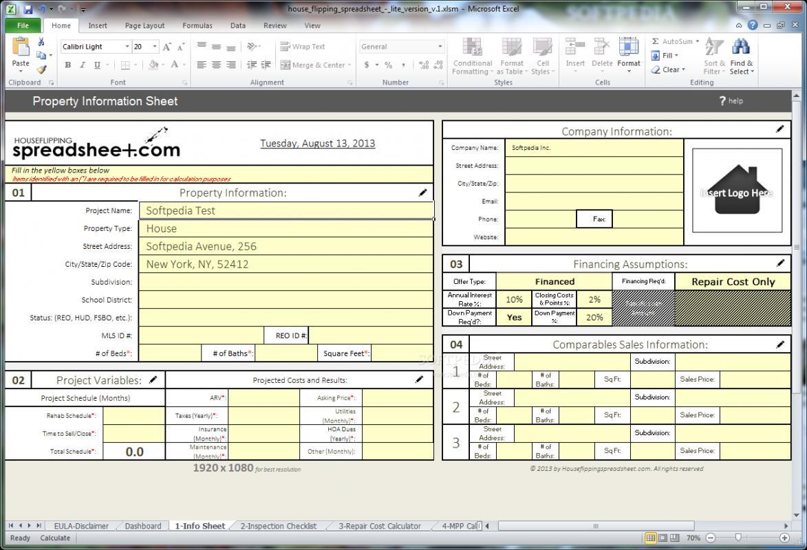 house flipping spreadsheet template