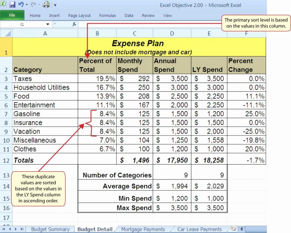 expense spreadsheet examples