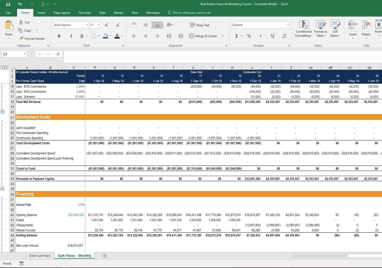 pro forma excel spreadsheet
