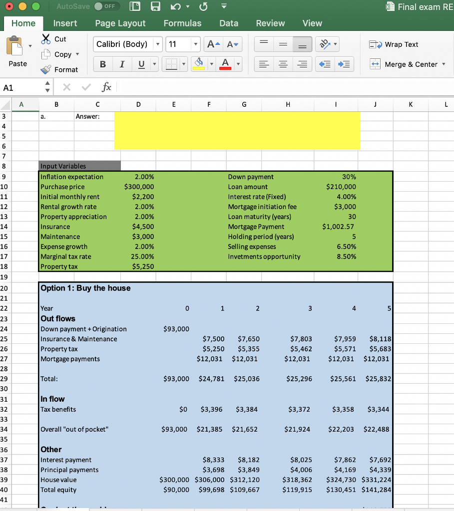 rent vs buy analysis spreadsheet