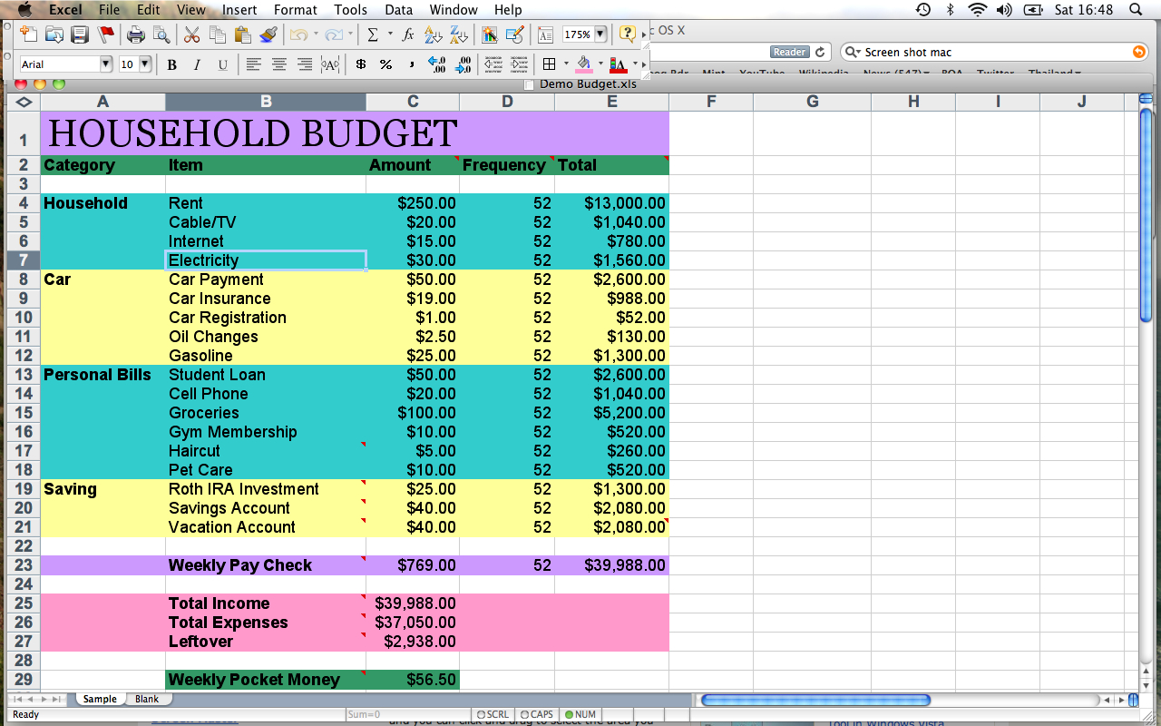 setting up a household budget spreadsheet