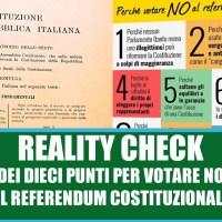 Referendum costituzionale: Reality check per il NO