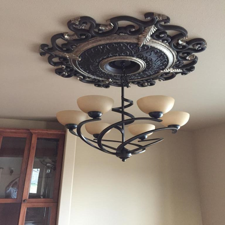 Dining room light is installed