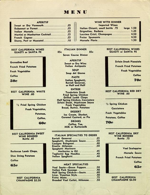 Pucci Cafe menu, 1930u0027s, LA (located where Dresdenu0027s is, today - french menu