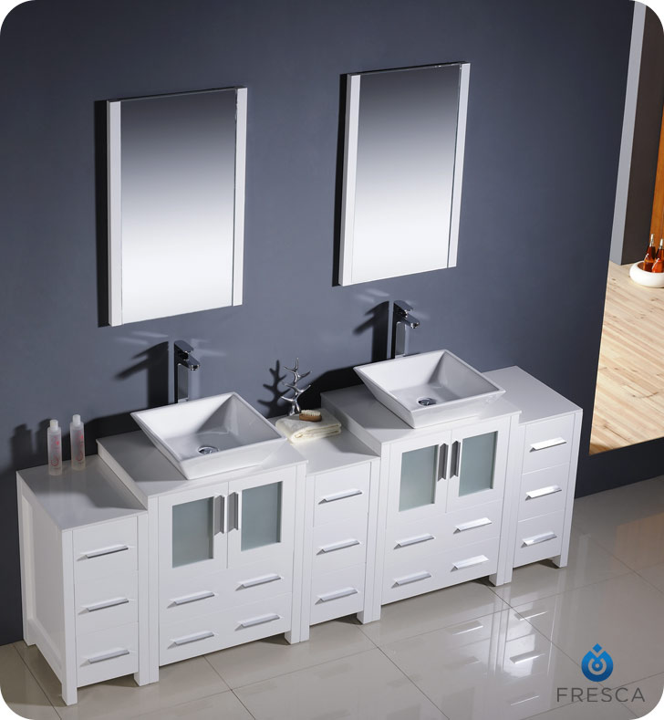 60quot To 84quot Torino Double Vessel Sink Vanity White