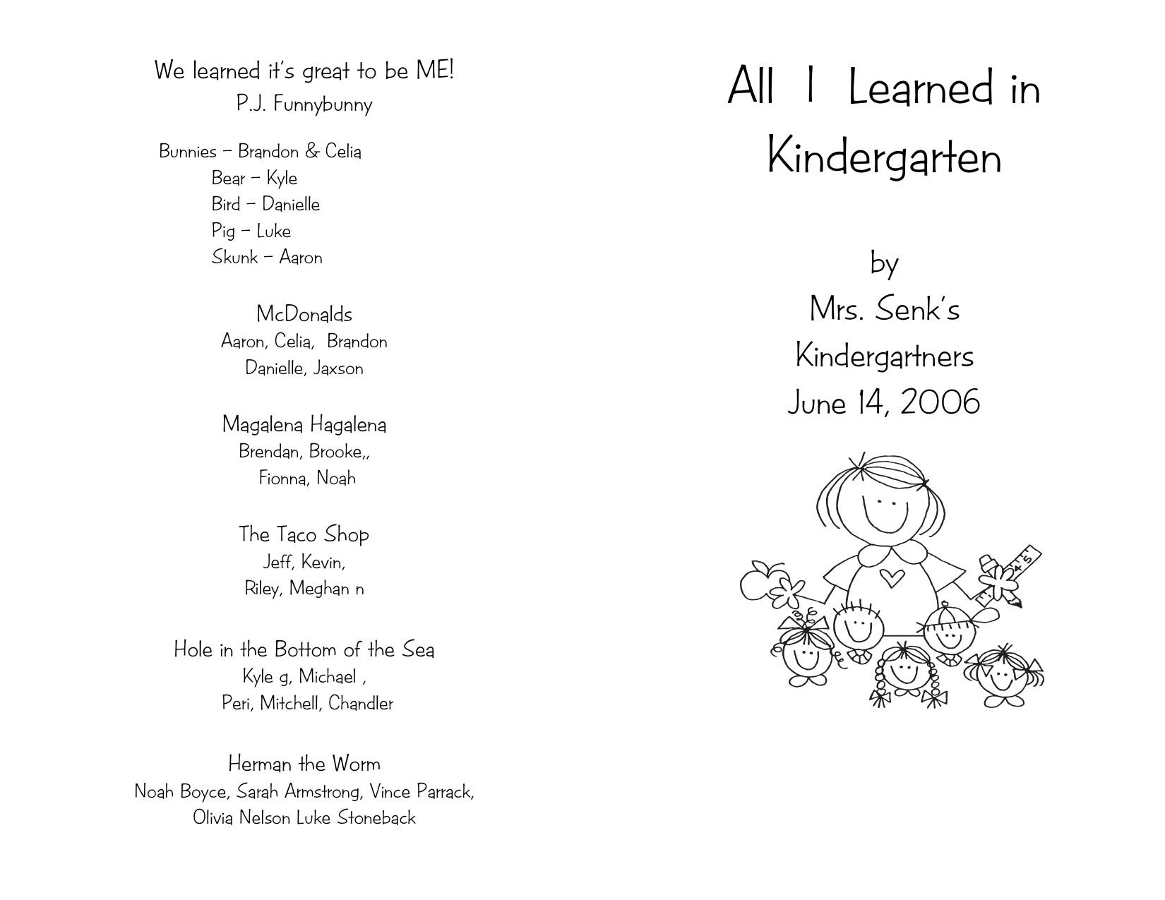 awesome kindergarten graduation program template ensign example