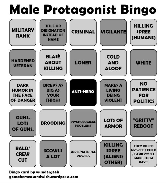 The Male Protagonist Bingo