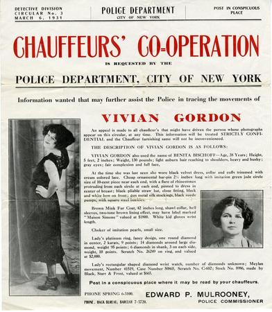 Wanted Poster for Vivian Gordon, Alias Benita Bischoff Lloyd Sealy - criminal wanted poster
