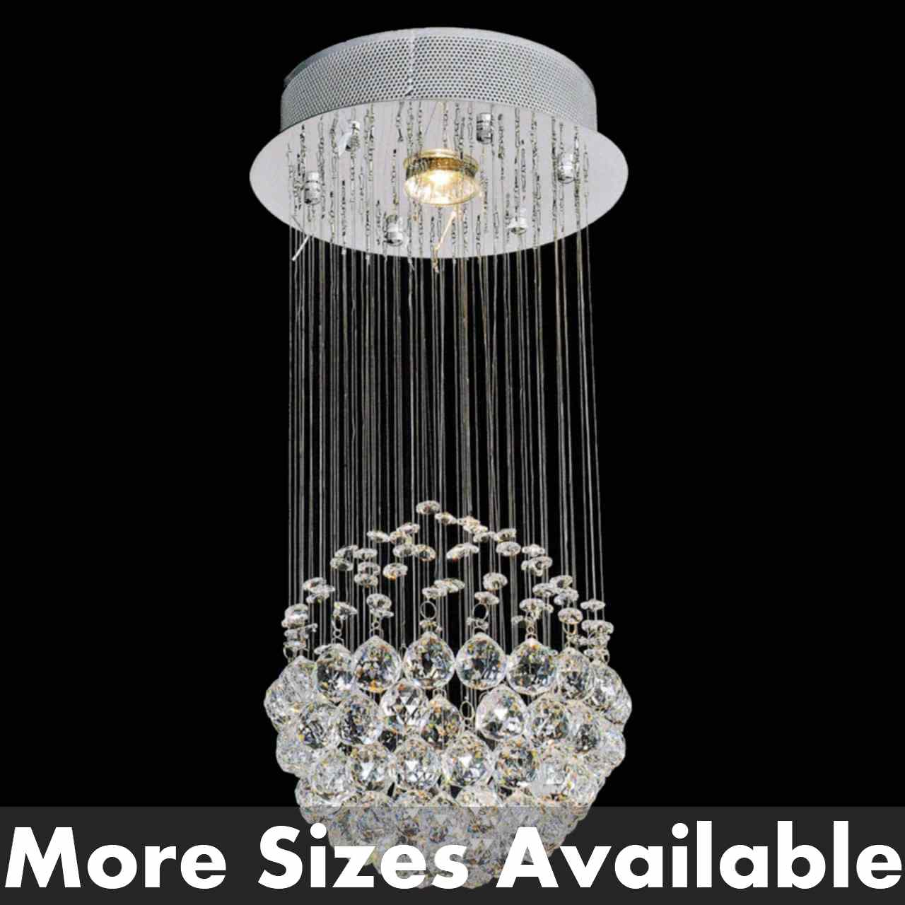 Small Simple Chandelier Sphere Modern Crystal Chandelier Small Mirror Stainless Steel Base 1 Light