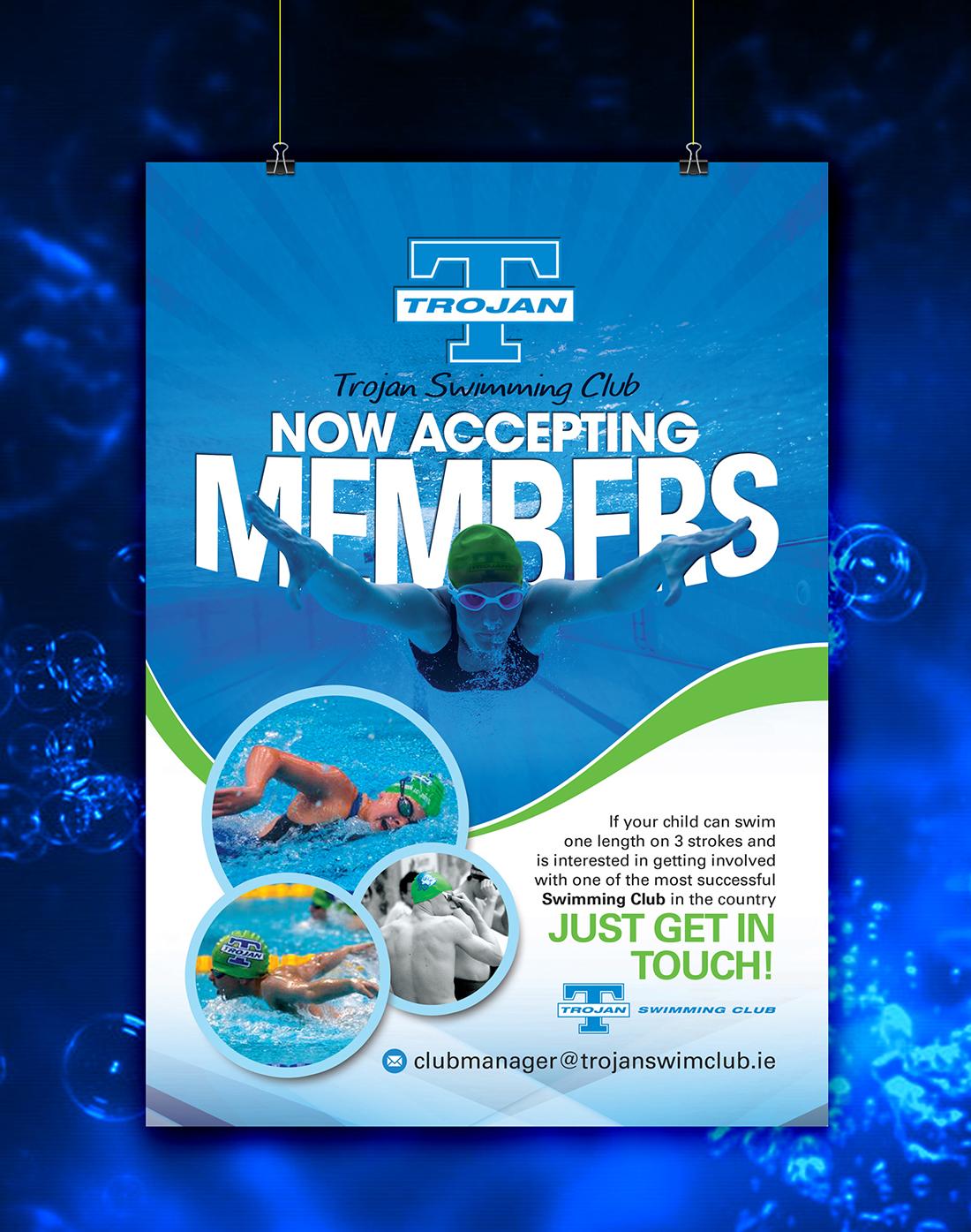 Poster design by uk for trojan swimming club membership poster design 7052662