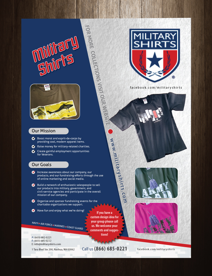 Small Business Flyer Design for Military Shirts by meet007 Design