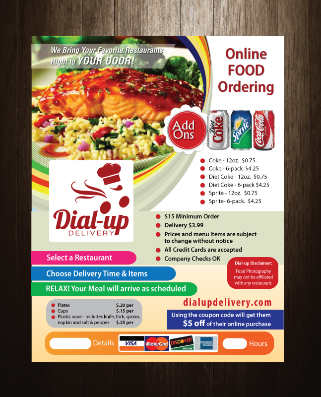 Personable, Bold, Restaurant Flyer Design for Dial-up Delivery by