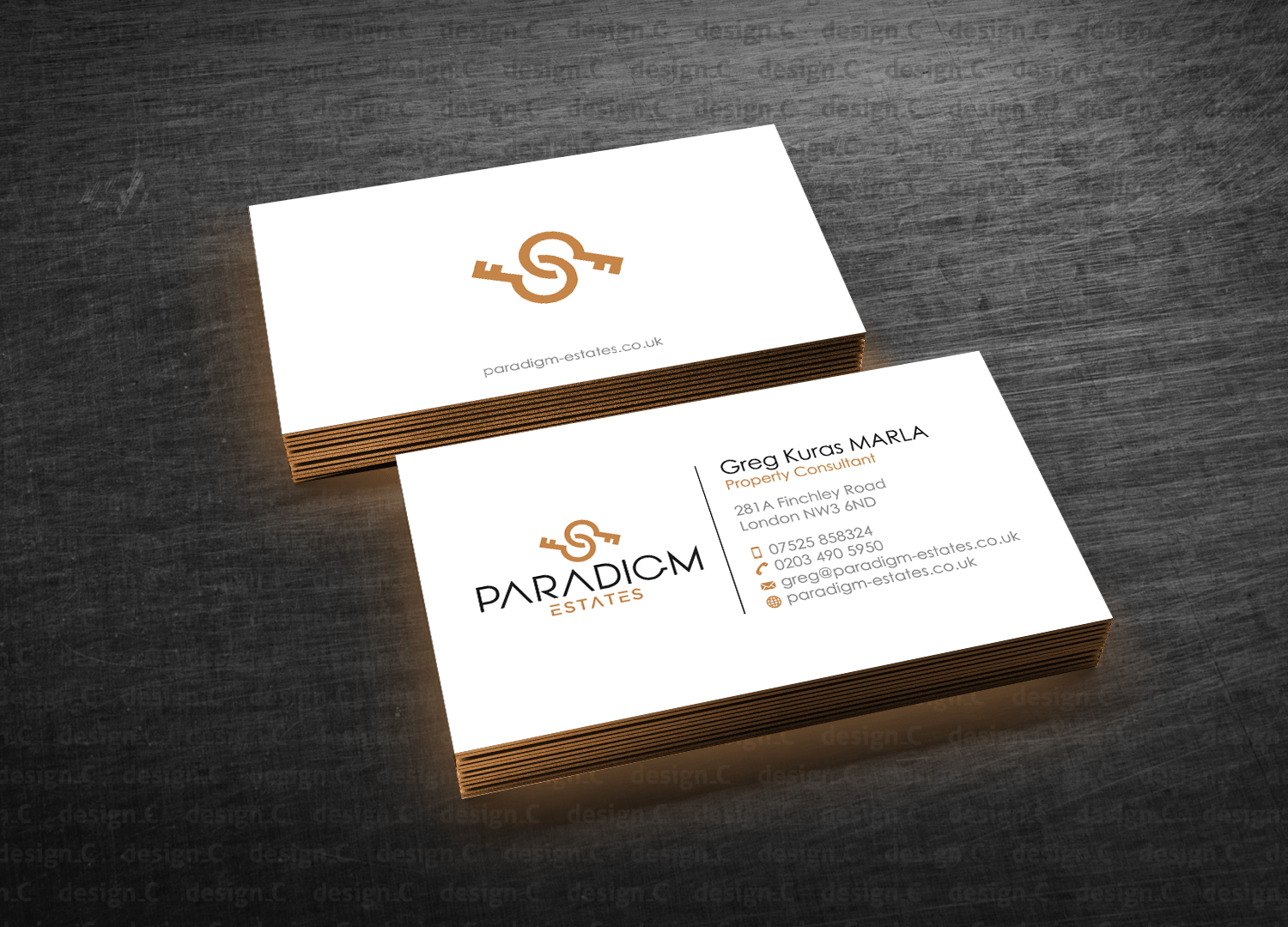 C En A Vesten Elegant Serious Real Estate Agent Business Card Design For