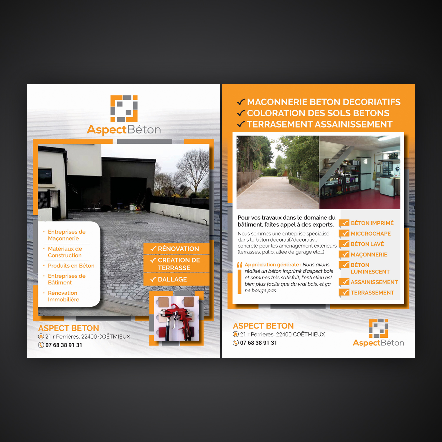 Garage Dans Le 91 Serious Modern Concrete Flyer Design For A Company By Mariyam