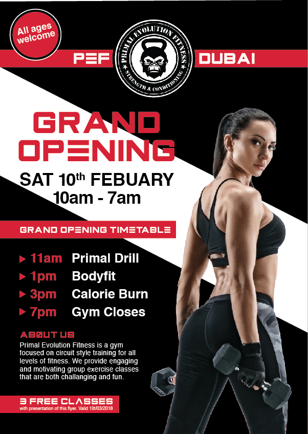 Elegant, Playful, Fitness Flyer Design for Primal Evolution Fitness