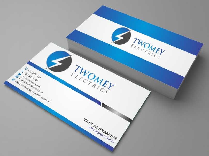 Electrical Business Card Design for twomey electrics by zarnab