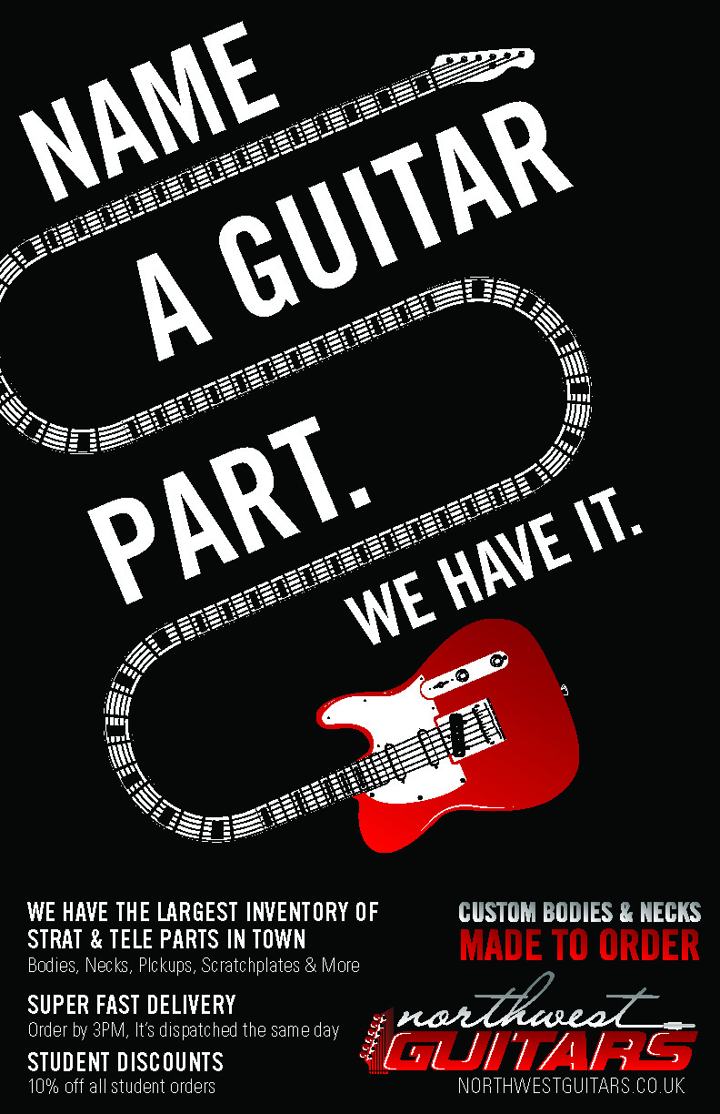 Poster design by mike zuniga for promo poster for guitar parts website may need photoshop
