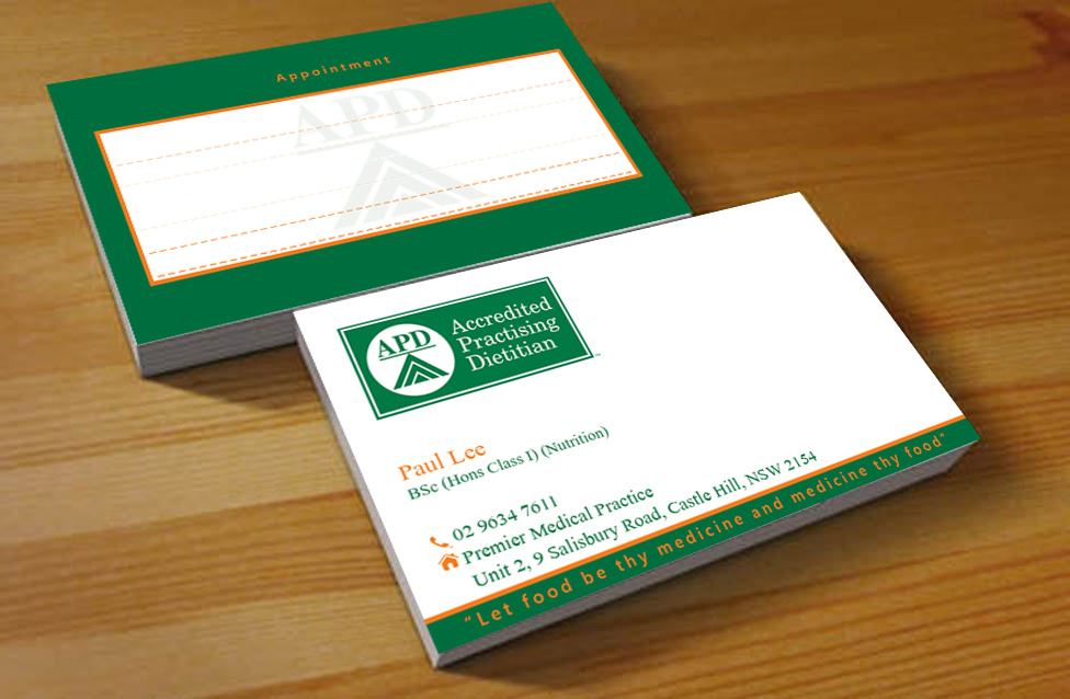 Nutrition Business Card Design for a Company by Hardcore Design