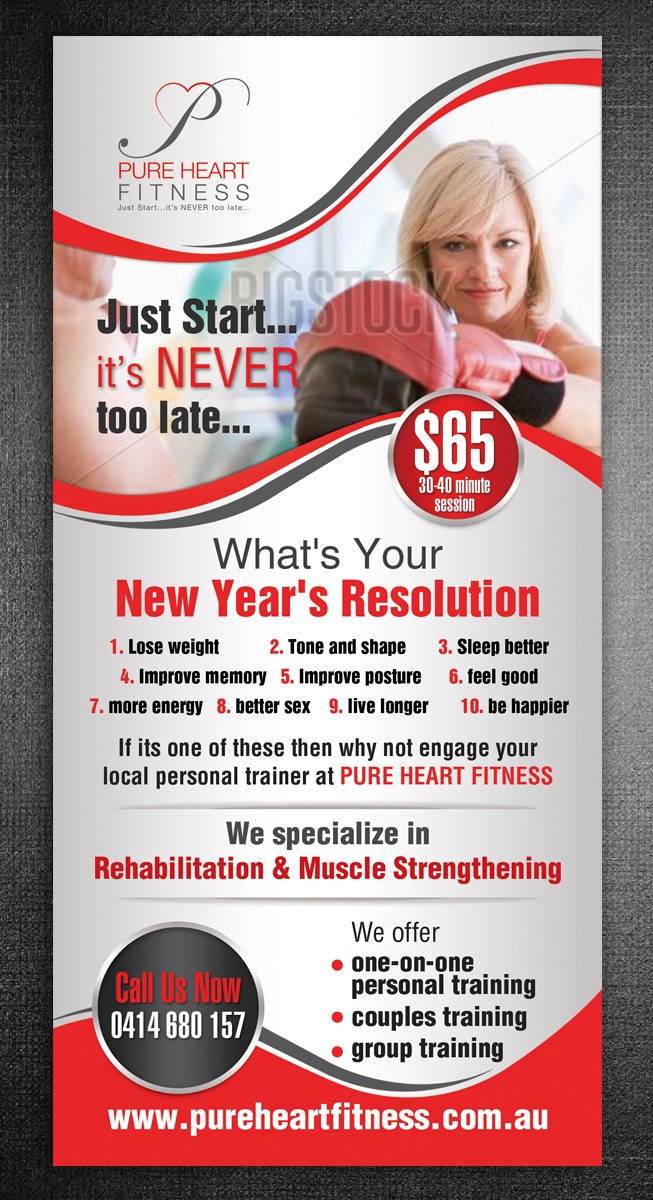 Professional, Bold, Training Flyer Design for Pure Heart Fitness by