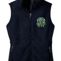 monogram monday: marley lilly navy fleece vest (ON SALE!)