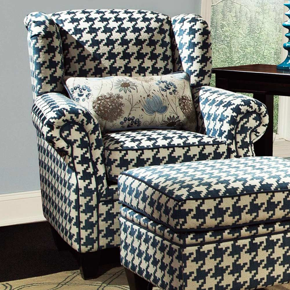 Kitchen Cabinets And Islands For Sale Francine Houndstooth Fabric Chair - Keltic Peacock Fabric