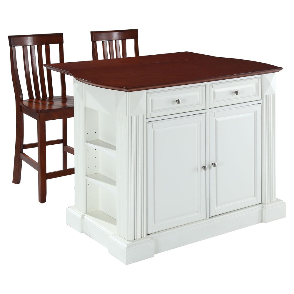 "24 Kitchen Island Drop Leaf Kitchen Island In White With 24"" Cherry School"