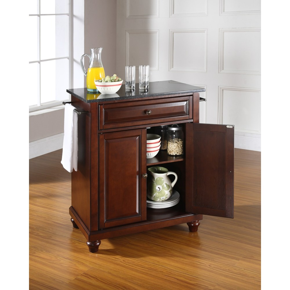 Portable Kitchen Island With Granite Top Cambridge Solid Black Granite Top Portable Kitchen Island