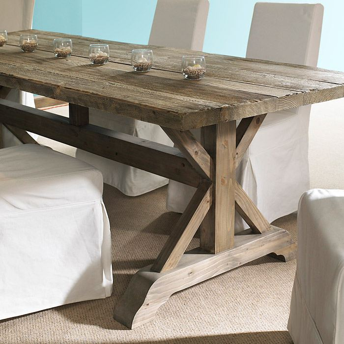 Salvaged Kitchen Cabinets For Sale Salvaged Wood Rectangular Dining Table - Natural, Trestle