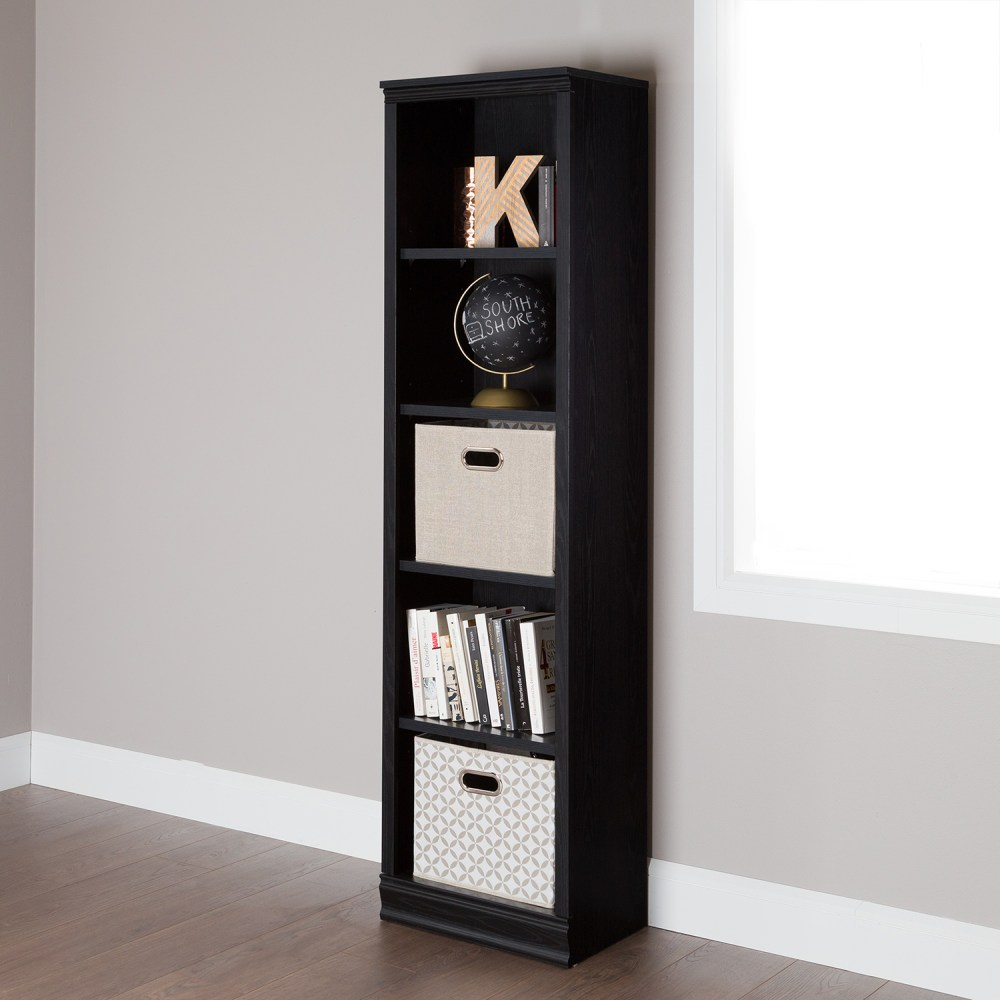 Elegant Desks For Home Office Morgan 5 Shelves Narrow Bookcase - Black Oak | Dcg Stores