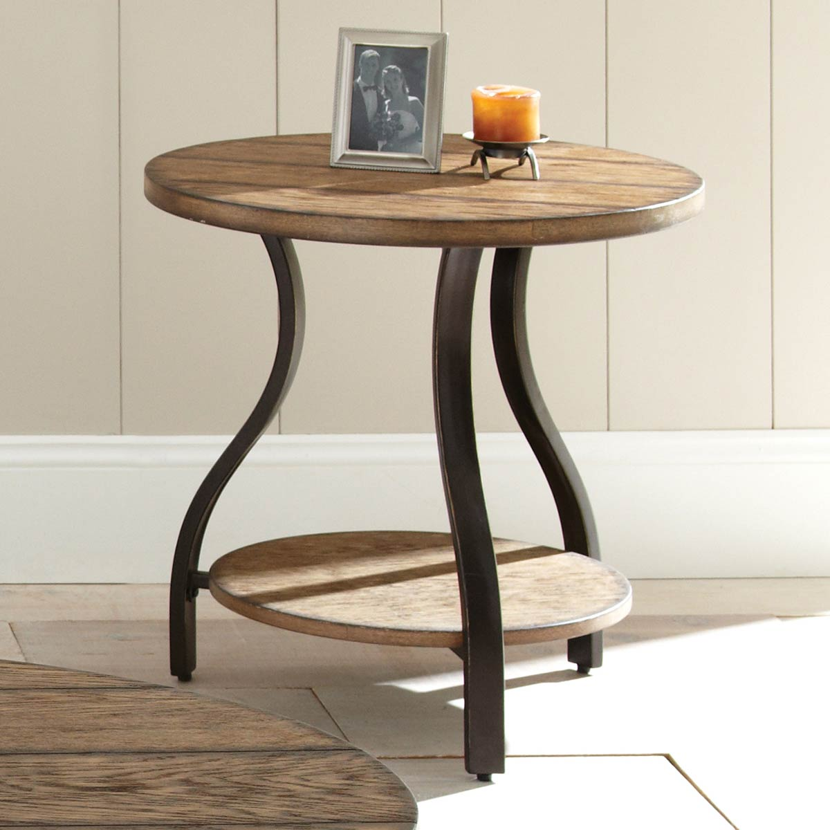 Wood And Metal Side Tables Denise Round Side Table Light Oak Wood Top Metal Base