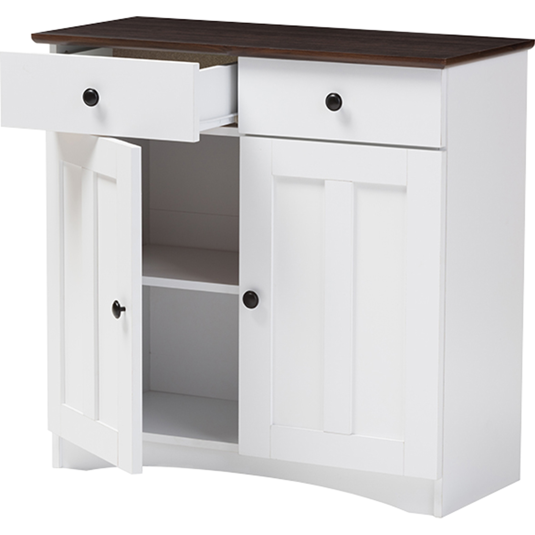 Buffet Kitchen Cabinet Lauren 2 Doors Buffet Kitchen Cabinet White Wenge