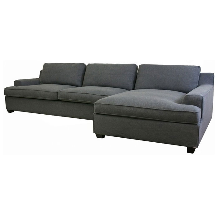 Fabric Sectional Sofas With Chaise Kaspar Slate Grey Fabric Sectional With Chaise | Dcg Stores
