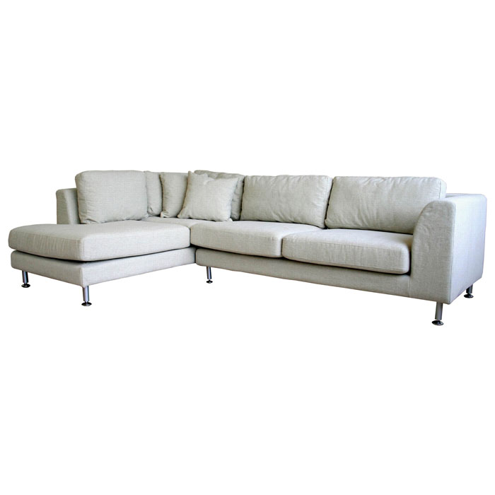 Fabric Sectional Sofas With Chaise Sterling Cream Twill Fabric Sectional Sofa With Chaise