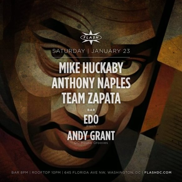 Mike Huckaby, Anthony Naples, Team Zapata at Flash, with Edo and Andy Grant in the Flash Bar