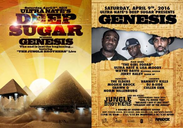 Deep Sugar Genesis with The Jungle Brothers Live, Ultra Naté, Lisa Moody, Wayne Davis, Jerry Haley, The Elders, Mookie Brock, Shawn Q, Norm Dillenburg, Vanity Kills, DJ B-Side and Cullen Enn at The Paradox, Baltimore
