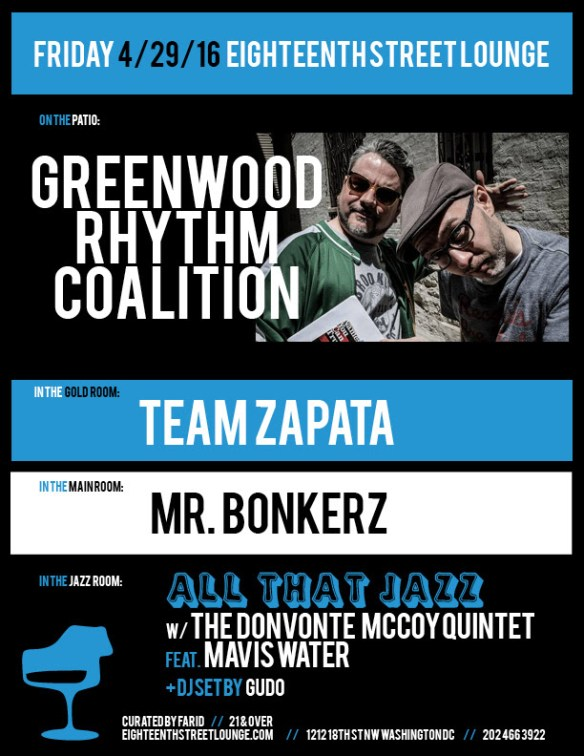 ESL Friday with Greenwood Rhythm Coalition, Team Zapata, Mr Bonkerz and Gudo at Eighteenth Street Lounge