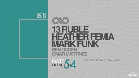 Night Flight with Mark Funk, Heather Femia, 13 Ruble, Ben Ogden and Omar Martinez at Cafe Saint-Ex